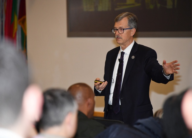 Cybersecurity Expert from the NATO ENSEC COE delivered a lecture in George C. Marshall Center for...
